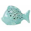 Ceramic Fish Figurine with Round Cutout Sides Gloss Finish Light Blue