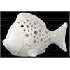 Ceramic Fish Figurine with Round Cutout Sides Gloss Finish White