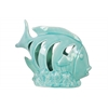 Ceramic Fish Figurine with Crescent Shaped Cutout Sides on Seaweed Base Gloss Finish Light Blue