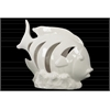 Ceramic Fish Figurine with Crescent Shaped Cutout Sides on Seaweed Base Gloss Finish White