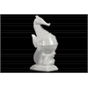 Ceramic Big-belly Seahorse Figurine on Seaweed Base Distressed Gloss Finish White