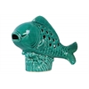 Ceramic Fish Figurine with Cutout Diamond Design Body on Seaweed Base Gloss Finish Turquoise