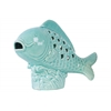 Ceramic Fish Figurine with Cutout Diamond Design Body on Seaweed Base Gloss Finish Light Blue