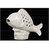 Ceramic Fish Figurine with Cutout Diamond Design Body on Seaweed Base Gloss Finish White