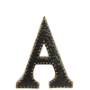 "Metal Alphabet Wall Decor Letter ""A"" with Rivets Rubbed Finish Dark Bronze"