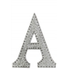 "Metal Alphabet Wall Decor Letter ""A"" with Rivets Galvanized Finish Silver"