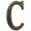 "Metal Alphabet Wall Decor Letter ""C"" with Rivets Rubbed Finish Dark Bronze"