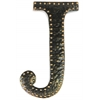 "Metal Alphabet Wall Decor Letter ""J"" with Rivets Rubbed Finish Dark Bronze"