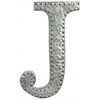 "Metal Alphabet Wall Decor Letter ""J"" with Rivets Galvanized Finish Silver"