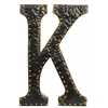 "Metal Alphabet Wall Decor Letter ""K"" with Rivets Rubbed Finish Darkh Bronze"