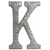 "Metal Alphabet Wall Decor Letter ""K"" with Rivets Galvanized Finish Silver"