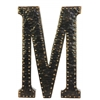 "Metal Alphabet Wall Decor Letter ""M"" with Rivets Rubbed Finish Dark Bronze"