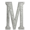 "Metal Alphabet Wall Decor Letter ""M"" with Rivets Galvanized Finish Silver"