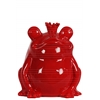 Ceramic Sitting Frog Figurine with Crown Gloss Finish Red
