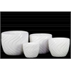 Ceramic Round Pot with Tapered Bottom and Impressed Swirl Design Set of Four Gloss Finish White