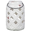Ceramic Tall Cylindrical Lantern with Diagonal Cutout Design and Metal Handle Gloss Finish White