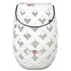 Ceramic Round Lantern with Diagonal Cutout Design, Tapered Bottom and Metal Handles Gloss Finish White