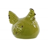 Ceramic Crouching Chicken Figurine Distressed Gloss Finish Yellow Green