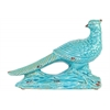 Ceramic Wood Pecker Bird Figurine on Branch Base Distressed Gloss Finish Turquoise