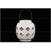 Ceramic Spherical Lantern with Cutout Quatrefoil Design and Metal Handle Gloss Finish White