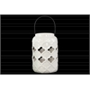 Ceramic Cylindrical Lantern with Cutout Quatrefoil Design and Metal Handle Gloss Finish White