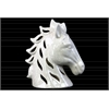 Ceramic Horse Head with Cutout Design Crackle Gloss Finish White