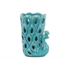 Ceramic Peacock Figurine/Vase with Cutout Sides Gloss Finish Turquoise