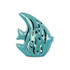 Ceramic Fish Figurine with Cutout Sides Gloss Finish Turquoise