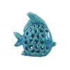 Ceramic Fish Figurine with Cutout Sides Gloss Finish Blue