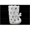 Ceramic Peacock Figurine/Vase with Cutout Sides Gloss Finish White