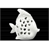 Ceramic Fish Figurine with Cutout Sides Gloss Finish White