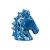Ceramic Horse Head with Cutout Design Gloss Finish Blue