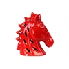 Ceramic Horse Head with Cutout Design Gloss Finish Red