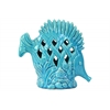 Ceramic Fish Figurine with Erect Dorsal Fins and Perforated Design on Seaweed Base Gloss Finish Sky Blue