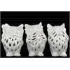 Ceramic Owl No Evil (Hear/Speak/See) Figurine with Perforated Design Assortment of Three Gloss Finish White