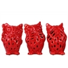 Ceramic Owl No Evil (Hear/Speak/See) Figurine with Perforated Design Assortment of Three Gloss Finish Red