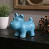 Ceramic Standing Welsh Terrier Dog Figurine Gloss Finish Turquoise