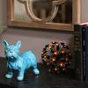 Ceramic Standing French Bulldog Figurine with Pricked Ears Gloss Finish Turquoise