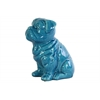 Ceramic Sitting British Bulldog Figurine Gloss Finish Turquoise