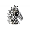 Ceramic Horse Head with Cutout Sides Polished Chrome Finish Silver