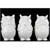 Ceramic Standing Owl No Evil (Hear/Speak/See) Figurine Assortment of Three Gloss Finish White
