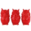 Ceramic Standing Owl No Evil (Hear/Speak/See) Figurine Assortment of Three Gloss Finish Red