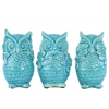Ceramic Standing Owl No Evil (Hear/Speak/See) Figurine Assortment of Three Gloss Finish Turquoise