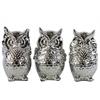Ceramic Standing Owl No Evil (Hear/Speak/See) Figurine Assortment of Three Polished Chrome Finish Silver