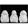Ceramic Standing Turtle No Evil (Hear/Speak/See) Figurine Assortment of Three Gloss Finish White