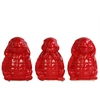 Ceramic Standing Turtle No Evil (Hear/Speak/See) Figurine Assortment of Three Gloss Finish Red