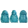 Ceramic Standing Turtle No Evil (Hear/Speak/See) Figurine Assortment of Three Gloss Finish Turquoise