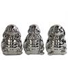 Ceramic Standing Turtle No Evil (Hear/Speak/See) Figurine Assortment of Three Polished Chrome Finish Silver