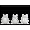 Ceramic Sitting Frog No Evil (Hear/Speak/See) Figurine Assortment of Three Gloss Finish White