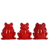 Ceramic Sitting Frog No Evil (Hear/Speak/See) Figurine Assortment of Three Gloss Finish Red